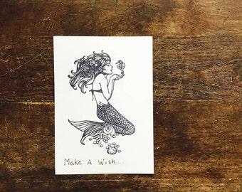 Mermaid Stationary, Mermaid, Ink, Nautical Gift, Wish, Quote, Inspirational, Handmade Note Cards, Stationary