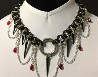Parallel Chain/Helms Maille Chain Maille Collar in Black, Silver, and Scarlet