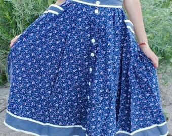 Vintage Gunne Sax Prairie Skirt 1970s calico