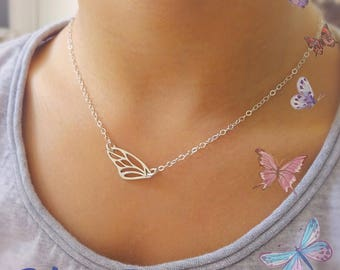 Butterfly Wing necklace, First day of school gift, little girls gift, butterfly jewelry, sterling silver childs necklace, Otis B