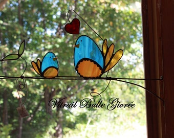 birds on a branch stained glass, Sun Catcher green window for the home or Gallery