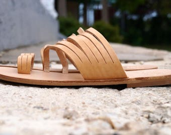 ARIA sandals,strappy sandals , toe ring sandals , handmade in Greece from 100% genuine leather
