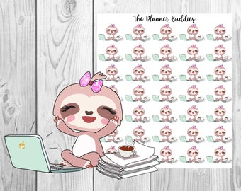 Lucy the Sloth, Planner Stickers, Sloth Planner Stickers, Homework, Study