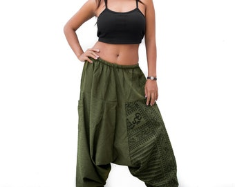 Harem Pants Drop Crotch women men, Boho Pants, Yoga Pants, Casual Pants, Gypsy Pants, Baggy Pants