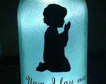 Glittered, illuminated -  Now I lay me down to sleep night light-Boy - Mason jar