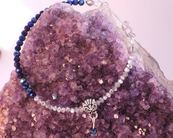 Kenilworth Bracelet in Deep Blue Iris and Clear-Silver