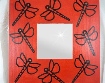 square mirror wood in red and black Dragonfly 25.5 cm - modern