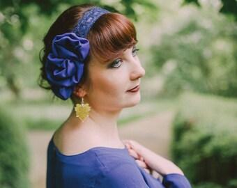"""Headband """"Marina"""" blue lace and chiffon flower"""