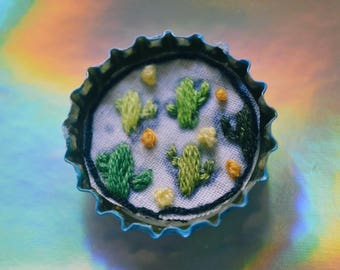 Cactus Pattern Hand Embroidered Bottle Cap Pin