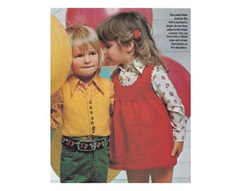 Childrens Dresses & Vest Knitting Pattern - Ribbed jumper with front pocket and crochet edging, vest with buttoned front