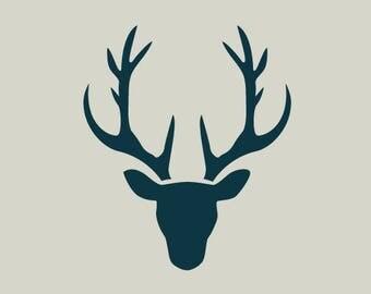 Deer. Deer head silhouette. Small adhesive vinyl stencil. (ref 189)