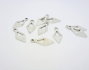 10 geometric 18 * 8mm (CLBA09) silver colored metal charms