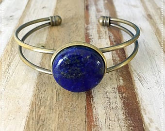"Ring ""Bohemian wild"" in brass and Lapis lazuli semi-precious stone"