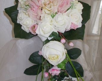 Pink and ivory bridal bouquets vintage shabby Princess