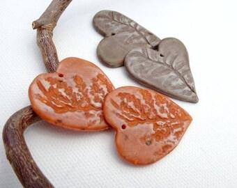 set of 2 pairs of earrings heart shaped pendants