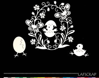 cuts scrapbooking Easter egg chick flower butterfly cut paper embellishment die cut creation