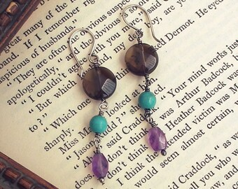 Smoky quartz, turquoise and amethyst rustic, bohemian drop earrings with sterling silver