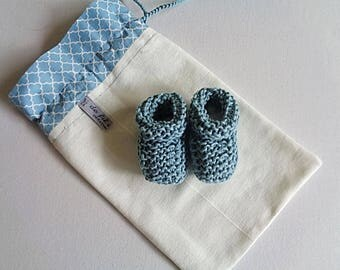 Baby booties knit organic cotton, birthday gift