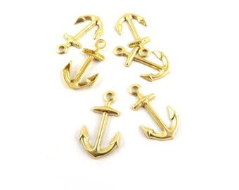 12 anchor charm brass stamping raw 17mm x 10mm. CH-019