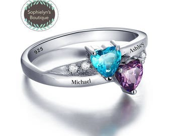 My SweetHearts Ring - Personalized Names and Birthstones Sterling Silver Ring
