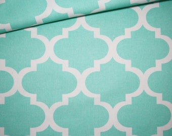 Moroccan lattice, 100% cotton fabric printed 50 x 160 cm, pastel turquoise Moroccan pattern