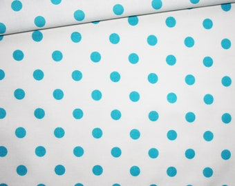 Turquoise on white, 100% cotton fabric printed 50 x 160 cm