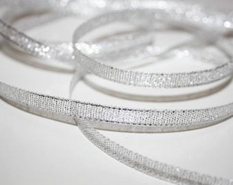 Organza Ribbon silver glitter 6 mm, 1 meter, transparent Gold Ribbon
