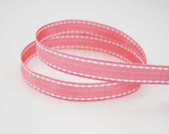 Pink grosgrain Ribbon and white 12 mm, 1 m, Pink Ribbon with a sewing thread white