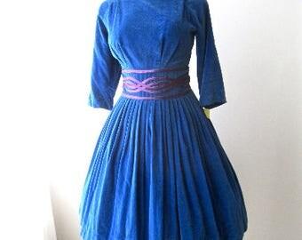 M 50s Blue Velvet Dress Cocktail Party Satin Soutache Shelf Bust Full Skirt 60s MCM Medium
