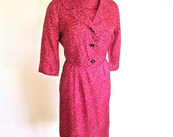 M 50s 60s 3pc Suit Dress Set Jacket Belt Korell Wiggle Sheath Cocktail Bombshell Mid Century Gold Raspberry Red Print Medium