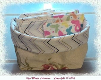 Cleansing wipes and a matching basket - butterflies / Chevron