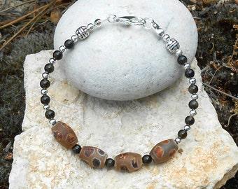 Bracelet beads Golden Obsidian, Tibetan agate beads