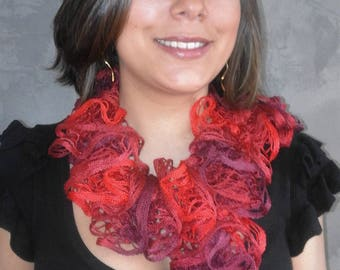Fancy ruffle wool hand knitted scarf for women Red