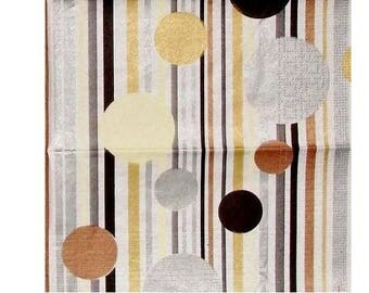 Set of 3 paper napkins HOD051 stripes and circles