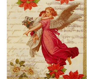 Set of 3 NOE130 Angels paper napkins, background writing and music