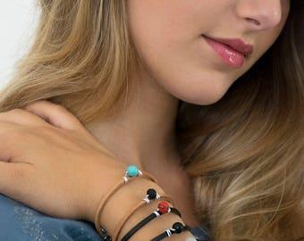 Beaded Bracelet, Leather Women Bracelet, Delicate Bracelet, Leather lace Bracelet, Glass Beads Bracelet, Ideal Gift For Her.