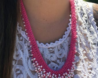 knit necklace, knitted necklace, statement necklace, feminine jewelry, beaded necklace, gifts for her, pink necklace