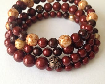 Dark red and brown pearl memory wire bracelet