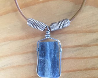 cyanide, blue, wire wrapped necklace