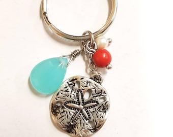 Sand Dollar beach keychain