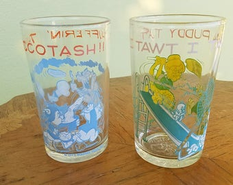 Vintage Looney Tunes Glasses, Set 3, Welch's Promo, 1974,Tweety, Yosemite, Daffy, Porky, Sylvester                            1