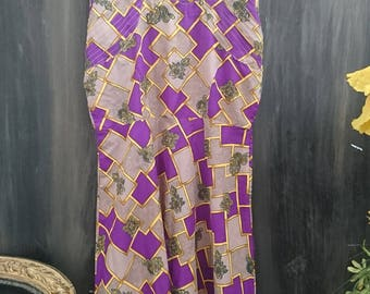 True Vintage Bespoke 1970s Purple and Gold Midi Dress, Size M