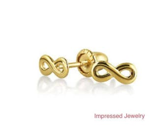 14K Yellow solid Gold Infinity Symbol Baby Safety Screwback Stud Earrings