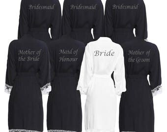 Personalised Black Lace cuff Bridal Party Robes - Dressing Gowns -Wedding Robes- Bride - Bridesmaid -Glitter Print Bridal Dressing Gown