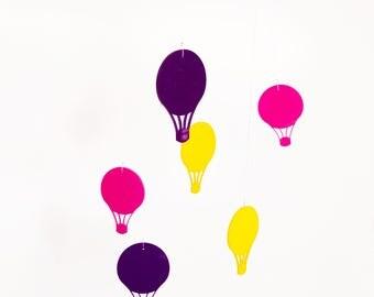 Baby Girl Nursery Mobile Wall Hanging Balloons Pink Purple Yellow