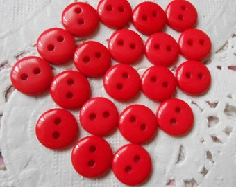 Red round acrylic 2 buttons holes 9 mm in diameter (with 20 buttons).