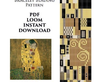 SALE Klimt Bead Loom Pattern Klimt Bracelet Seed Beading Patterns Miyuki PDF Patterns Instant Download Kiss Bracelet Bead Weaving Pattern