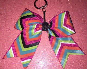 Pink and Green multicolored Chevron Bow Keychain
