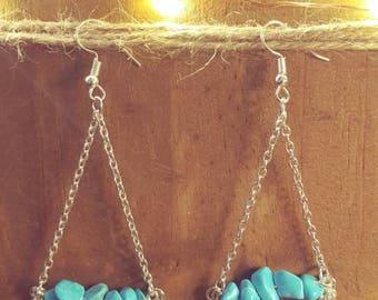 Turquoise Stone Chandelier Earrings