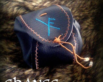Purse faux leather embroidered - Runic symbol: good luck